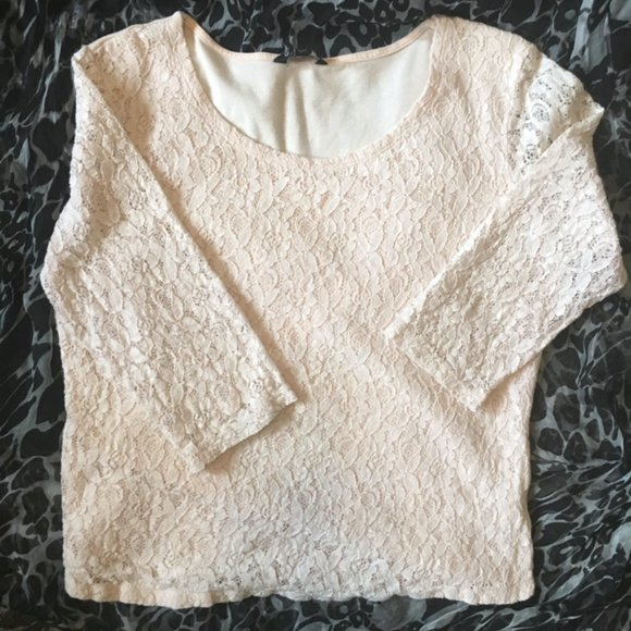 George Blush White Lace Scoop Neck 3/4 Sleeve Top
